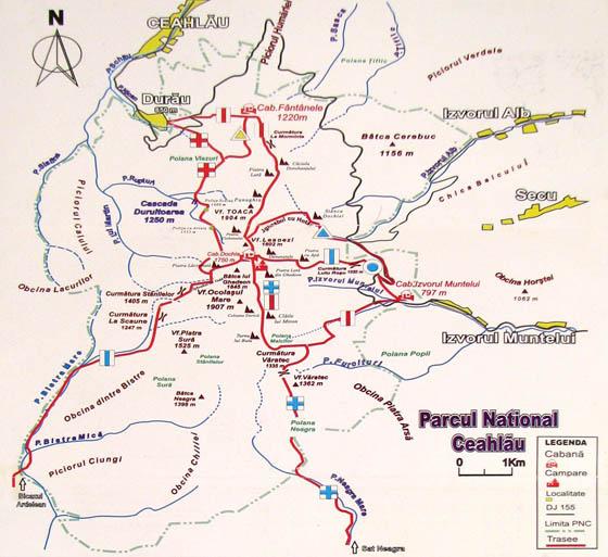 Harta Trasee Masivul Ceahlau