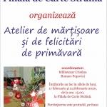 Ateliere de mărțișoare și felicitări de primăvară la Biblioteca Județeană
