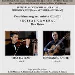 """Recital """"DUO MELOS"""" în deschiderea stagiunii muzicale"""
